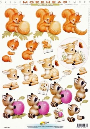 Morehead Cute Animals 3D Decoupage Craft Sheet